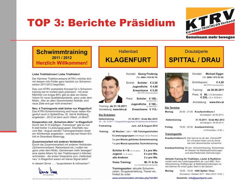TOP 3: Berichte Präsidium