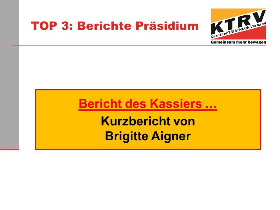 TOP 3: Berichte Präsidium Bericht des Kassiers … Kurzbericht von Brigitte Aigner