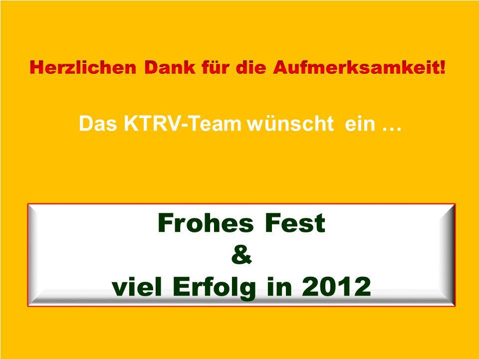 Frohes Fest & viel Erfolg in 2012 Das KTRV-Team wünscht ein …