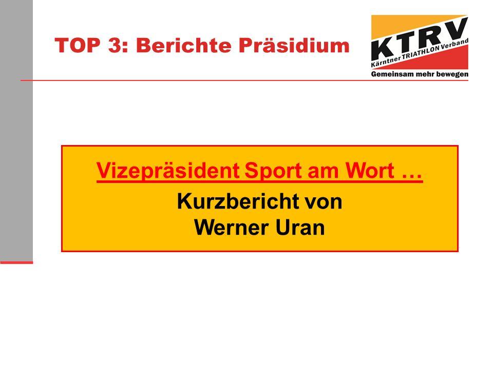 TOP 3: Berichte Präsidium Vizepräsident Sport am Wort … Kurzbericht von Werner Uran