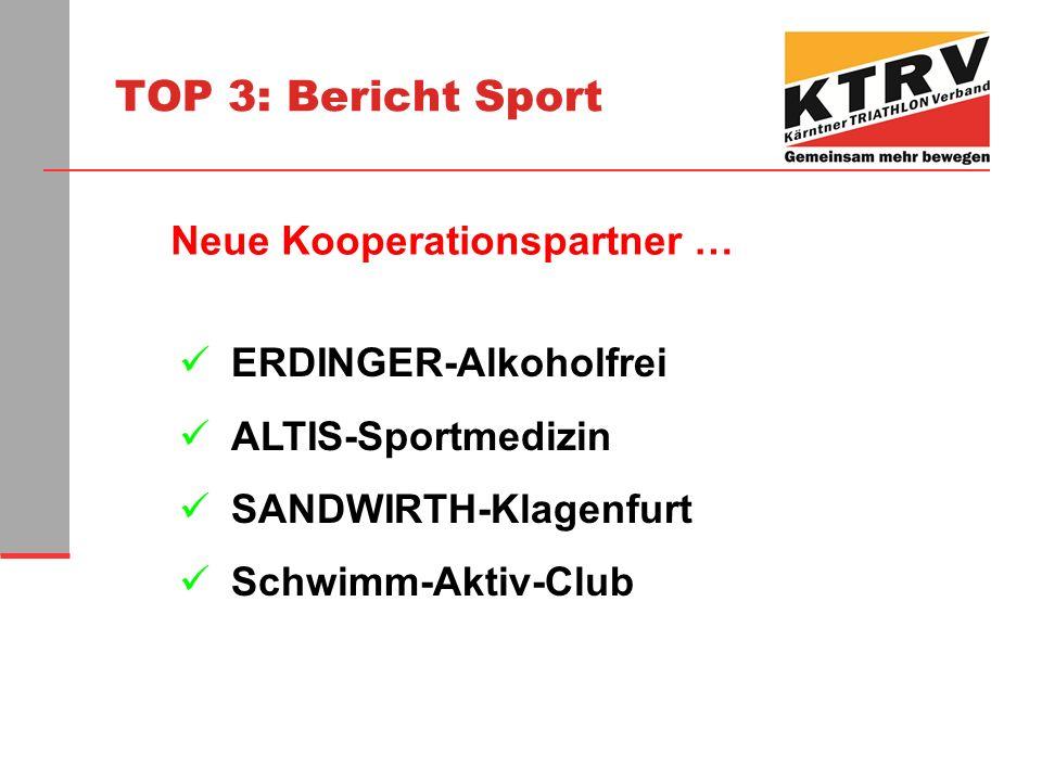 TOP 3: Bericht Sport ERDINGER-Alkoholfrei ALTIS-Sportmedizin SANDWIRTH-Klagenfurt Schwimm-Aktiv-Club Neue Kooperationspartner …