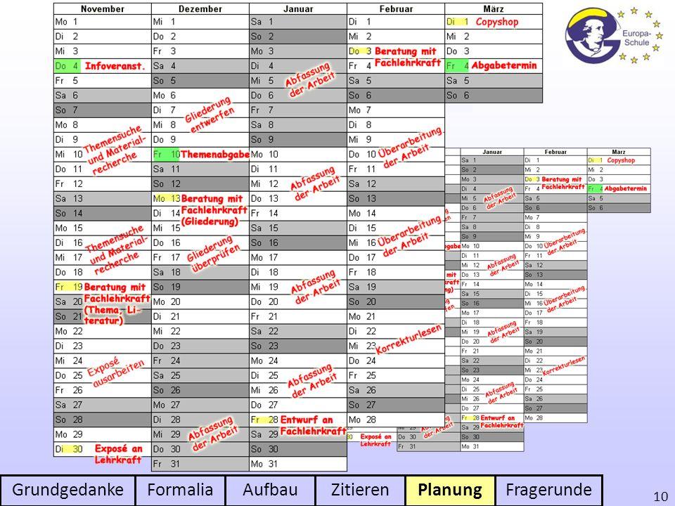 GrundgedankeFormaliaAufbauZitierenPlanungFragerunde 10 Planung der Arbeit Mit unvorherge- sehenen Ereig- nissen rechnen Zeitmanagement im Auge behalte