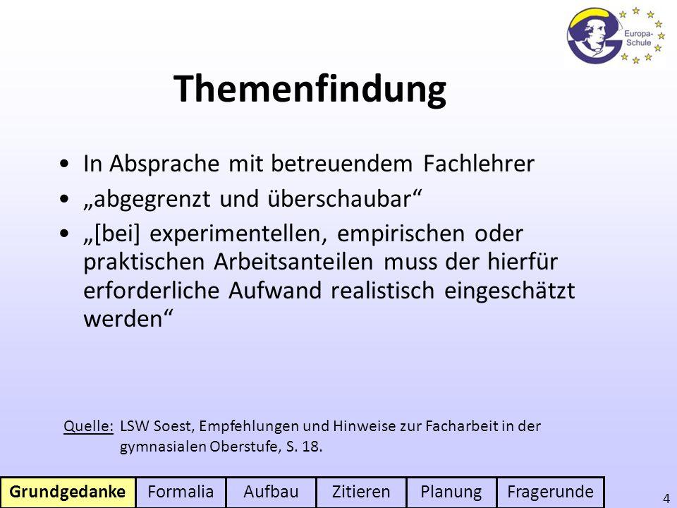 GrundgedankeFormaliaAufbauZitierenPlanungFragerunde 5 Formaler Rahmen 8 - 12 S.