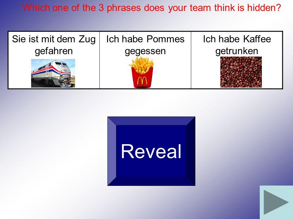 Sie ist mit dem Zug gefahren Ich habe Pommes gegessen Ich habe Kaffee getrunken Reveal Which one of the 3 phrases does your team think is hidden?