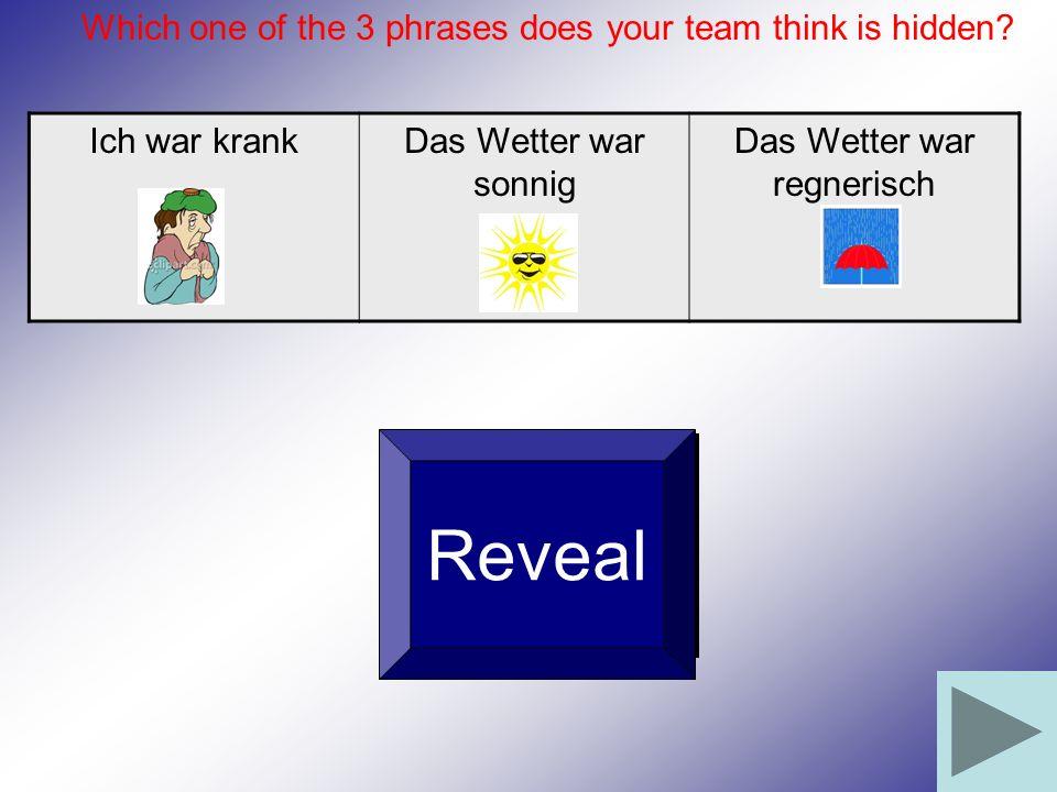 Ich war krankDas Wetter war sonnig Das Wetter war regnerisch Reveal Which one of the 3 phrases does your team think is hidden?