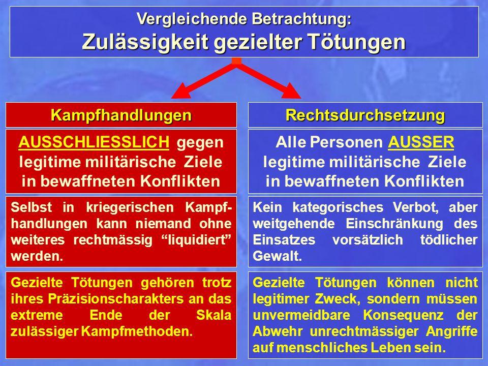 Vergleichende Betrachtung: Zulässigkeit gezielter Tötungen Rechtsdurchsetzung Alle Personen AUSSER legitime militärische Ziele in bewaffneten Konflikt