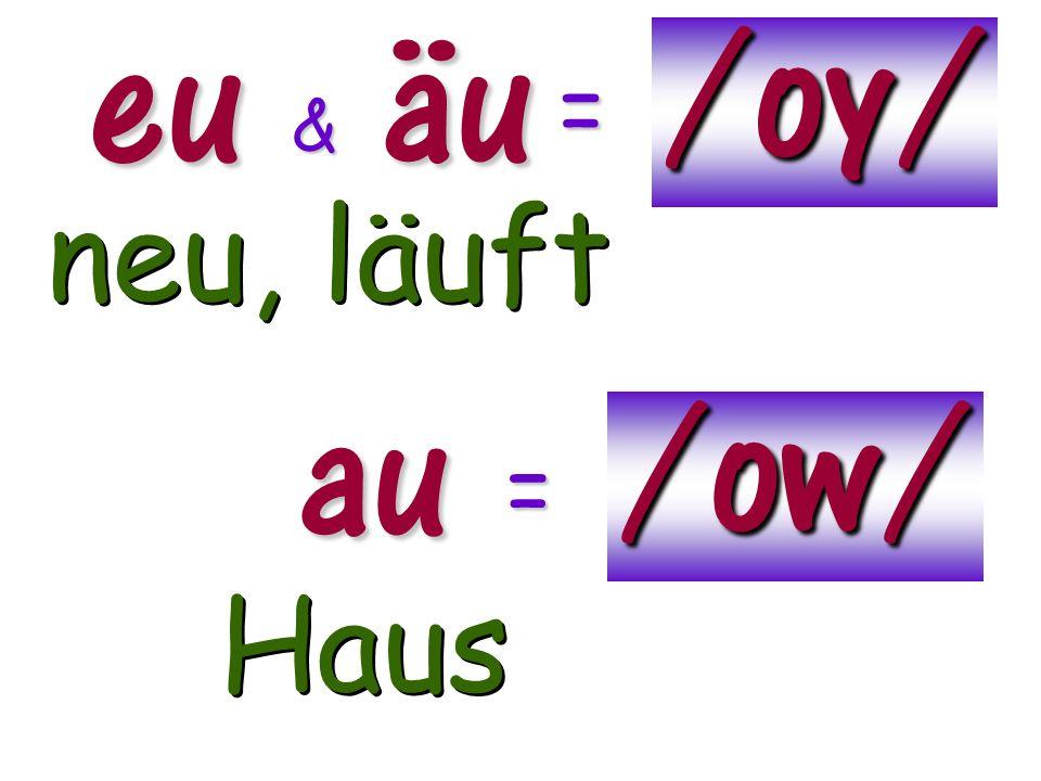 euäu /oy/ & = neu, läuft au /ow/ = Haus