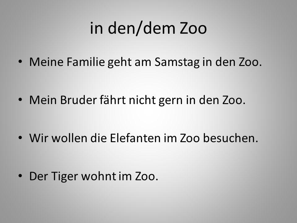 in den/dem Zoo Meine Familie geht am Samstag in den Zoo. Mein Bruder fährt nicht gern in den Zoo. Wir wollen die Elefanten im Zoo besuchen. Der Tiger