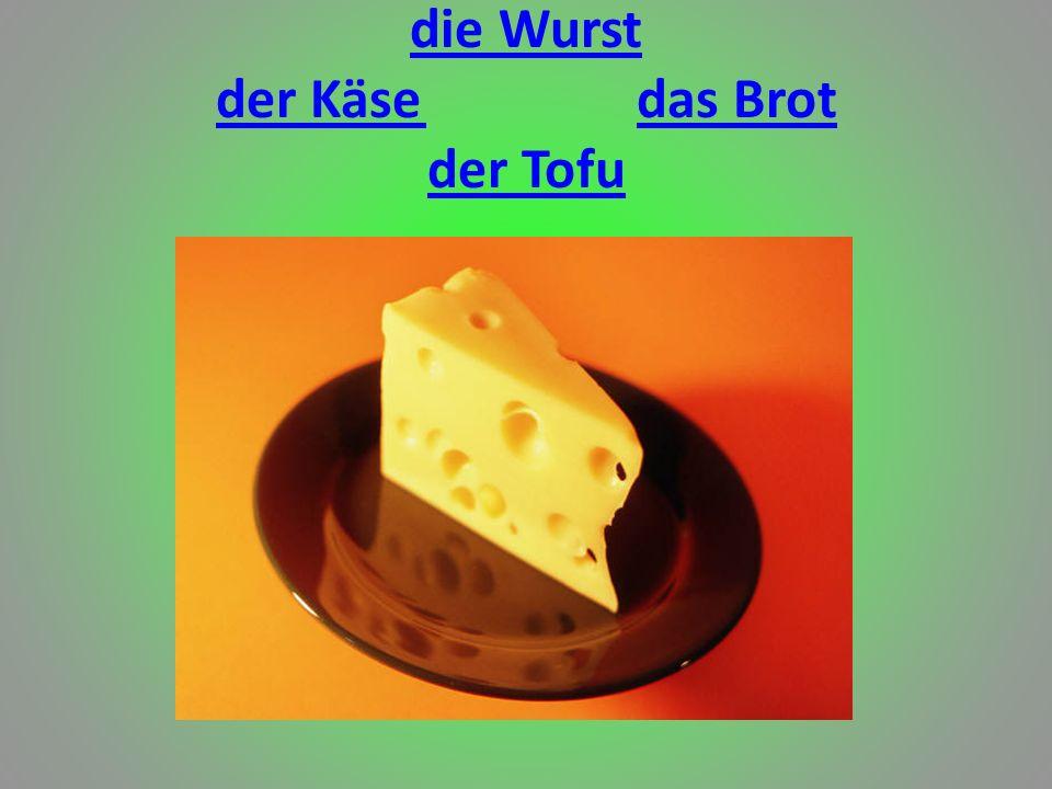 die Wurst der Käsedas Brot der Tofu