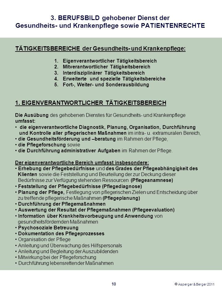 3. BERUFSBILD gehobener Dienst der Gesundheits- und Krankenpflege sowie PATIENTENRECHTE 10 Asperger & Berger 2011 TÄTIGKEITSBEREICHE der Gesundheits-