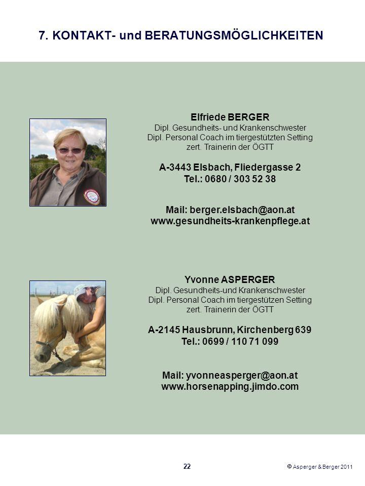 7. KONTAKT- und BERATUNGSMÖGLICHKEITEN Elfriede BERGER Dipl. Gesundheits- und Krankenschwester Dipl. Personal Coach im tiergestützten Setting zert. Tr