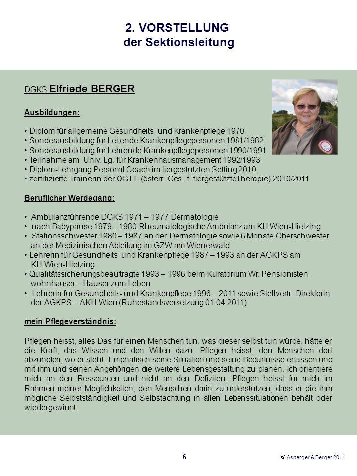 2. VORSTELLUNG der Sektionsleitung DGKS Elfriede BERGER Ausbildungen: Diplom für allgemeine Gesundheits- und Krankenpflege 1970 Sonderausbildung für L