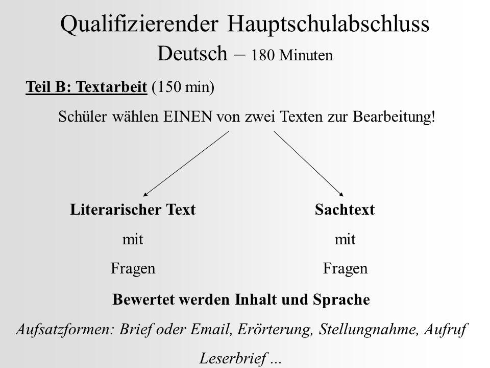 Qualifizierender Hauptschulabschluss Deutsch – 180 Minuten Teil B: Textarbeit (150 min) Schüler wählen EINEN von zwei Texten zur Bearbeitung! Literari