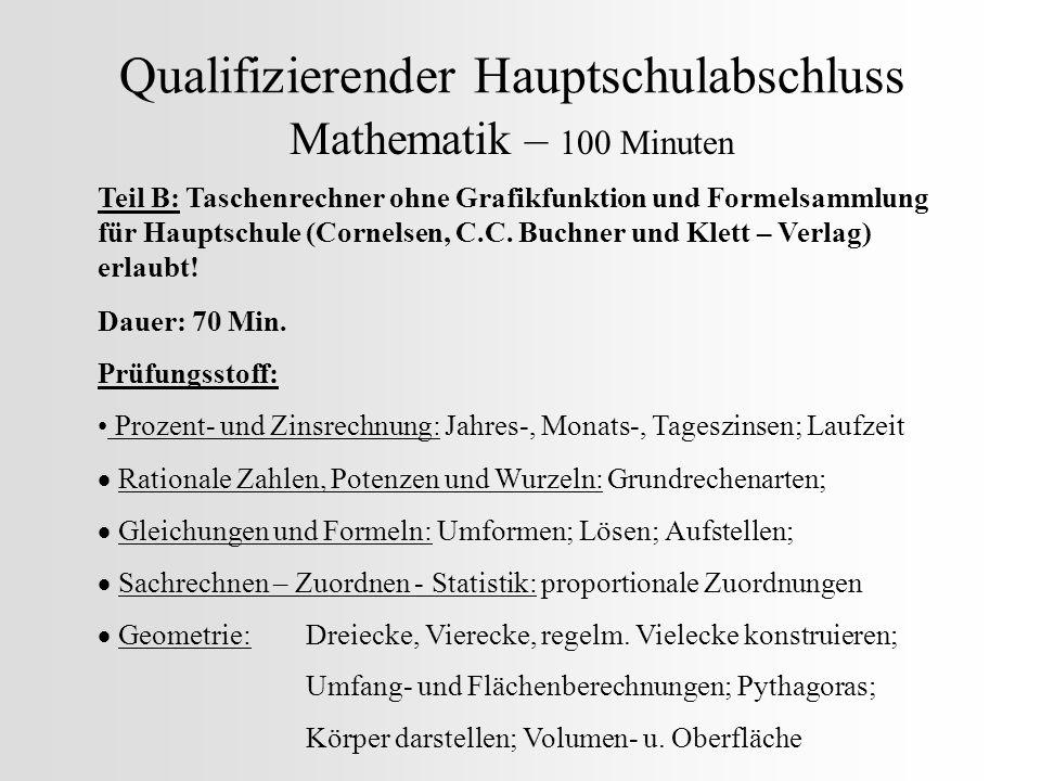 Qualifizierender Hauptschulabschluss Mathematik – 100 Minuten Teil B: Taschenrechner ohne Grafikfunktion und Formelsammlung für Hauptschule (Cornelsen