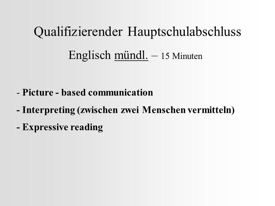 Qualifizierender Hauptschulabschluss Englisch mündl. – 15 Minuten - Picture - based communication - Interpreting (zwischen zwei Menschen vermitteln) -