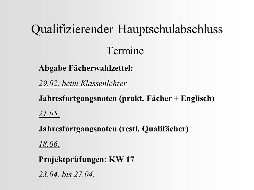 Qualifizierender Hauptschulabschluss Termine Abgabe Fächerwahlzettel: 29.02. beim Klassenlehrer Jahresfortgangsnoten (prakt. Fächer + Englisch) 21.05.