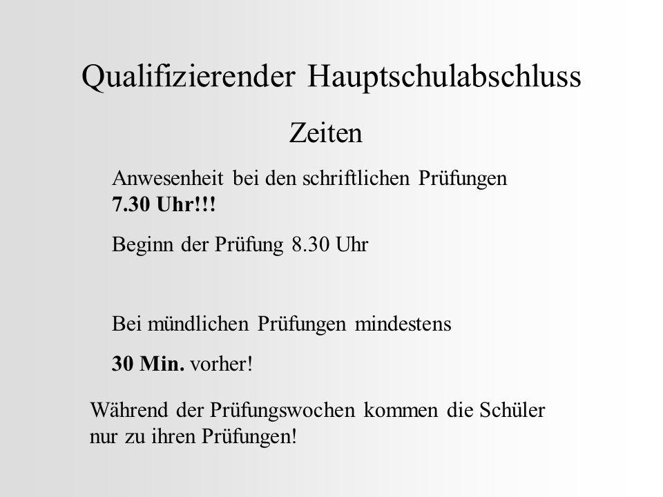 Qualifizierender Hauptschulabschluss Handys Am besten nicht mitnehmen!!.