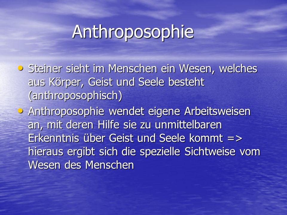 Anthroposophie Anthroposophie Steiner sieht im Menschen ein Wesen, welches aus Körper, Geist und Seele besteht (anthroposophisch) Steiner sieht im Men