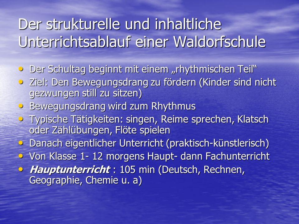 Der strukturelle und inhaltliche Unterrichtsablauf einer Waldorfschule Der Schultag beginnt mit einem rhythmischen Teil Der Schultag beginnt mit einem