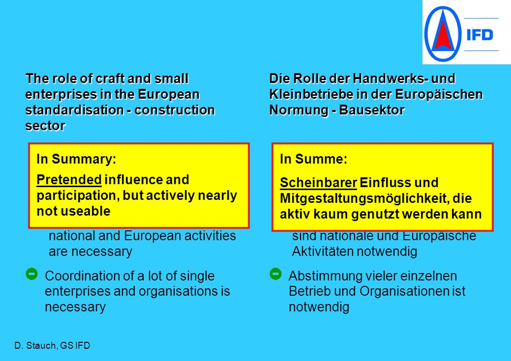 Craft and small enterprises are represented by federations or interest groups Handwerks- und Kleinbetriebe werden durch Verbände und Intressengruppen