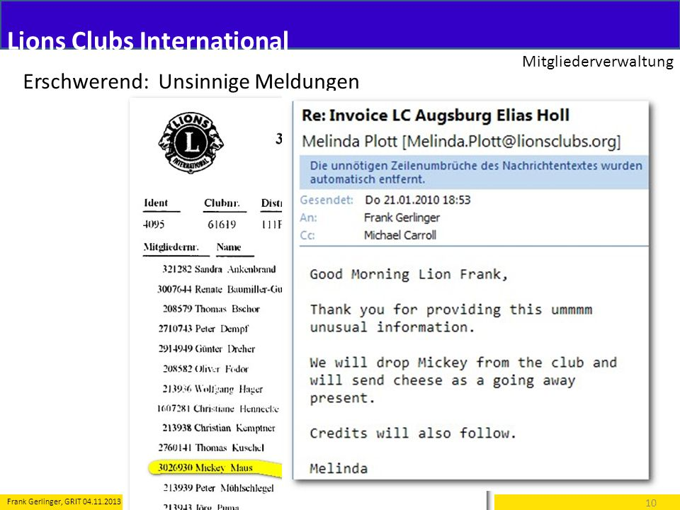 Lions Clubs International Mitgliederverwaltung 10 Frank Gerlinger, GRIT 04.11.2013 Erschwerend: Unsinnige Meldungen