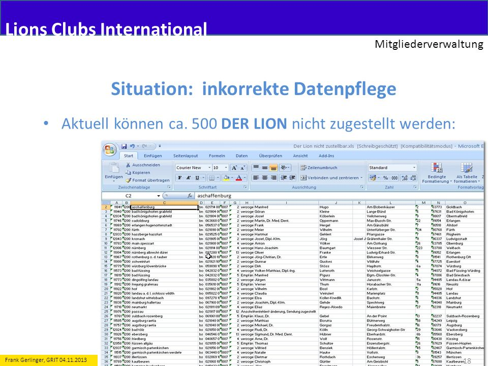 Lions Clubs International Mitgliederverwaltung 18 Frank Gerlinger, GRIT 04.11.2013 Situation: inkorrekte Datenpflege Aktuell können ca. 500 DER LION n