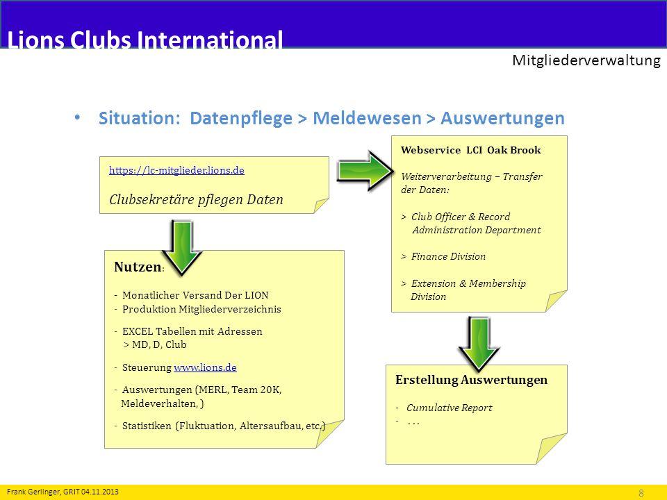 Lions Clubs International Mitgliederverwaltung 8 Frank Gerlinger, GRIT 04.11.2013 Situation: Datenpflege > Meldewesen > Auswertungen https://lc-mitgli