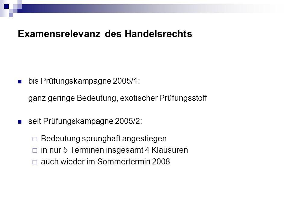 Examensrelevanz des Handelsrechts bis Prüfungskampagne 2005/1: ganz geringe Bedeutung, exotischer Prüfungsstoff seit Prüfungskampagne 2005/2: Bedeutun