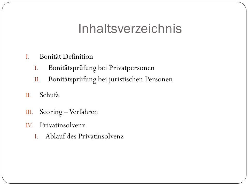 Inhaltsverzeichnis I. Bonität Definition I. Bonitätsprüfung bei Privatpersonen II. Bonitätsprüfung bei juristischen Personen II. Schufa III. Scoring –