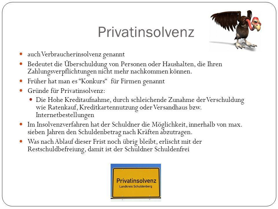 Privatinsolvenz auch Verbraucherinsolvenz genannt Bedeutet die Überschuldung von Personen oder Haushalten, die Ihren Zahlungsverpflichtungen nicht meh