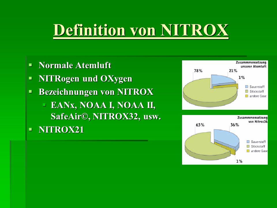 Definition von NITROX Normale Atemluft Normale Atemluft NITRogen und OXygen NITRogen und OXygen Bezeichnungen von NITROX Bezeichnungen von NITROX EANx