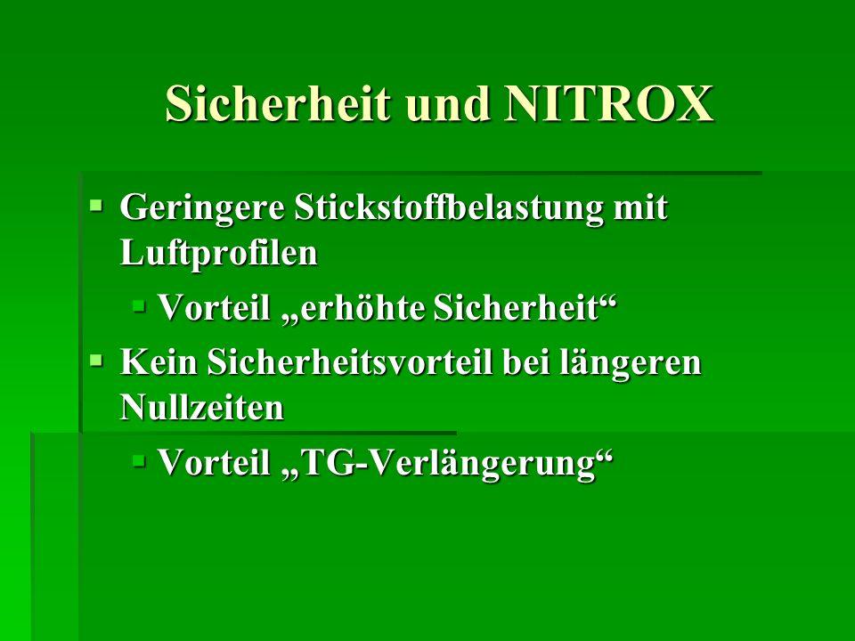 Sicherheit und NITROX Geringere Stickstoffbelastung mit Luftprofilen Geringere Stickstoffbelastung mit Luftprofilen Vorteil erhöhte Sicherheit Vorteil