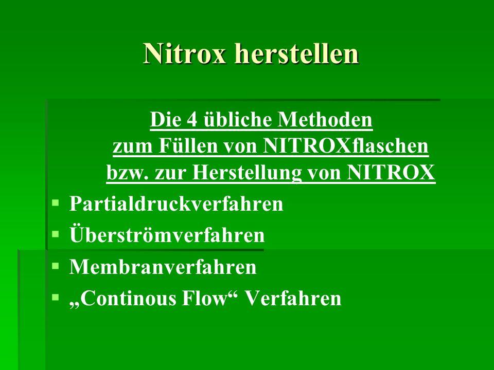 Nitrox herstellen Die 4 übliche Methoden zum Füllen von NITROXflaschen bzw. zur Herstellung von NITROX Partialdruckverfahren Überströmverfahren Membra