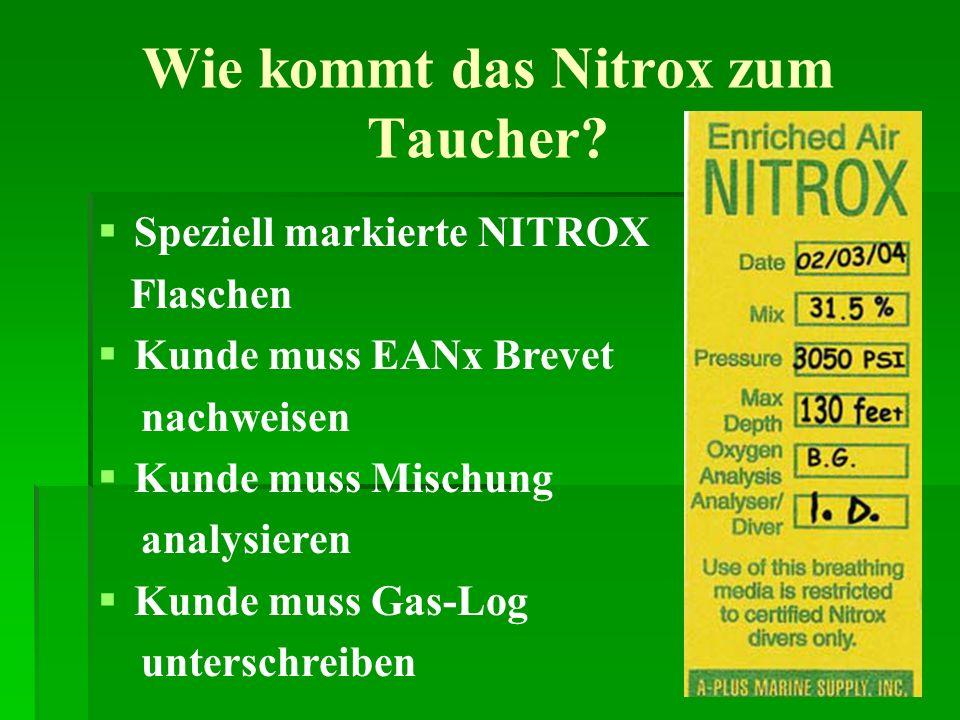 Wie kommt das Nitrox zum Taucher? Speziell markierte NITROX Flaschen Kunde muss EANx Brevet nachweisen Kunde muss Mischung analysieren Kunde muss Gas-