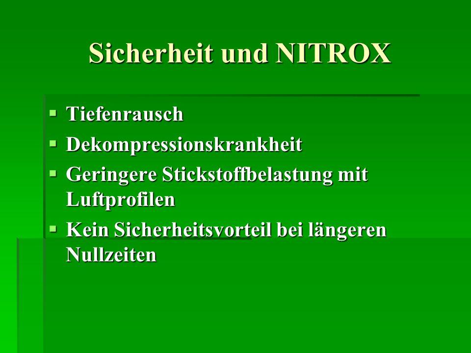 Sicherheit und NITROX Tiefenrausch Tiefenrausch Dekompressionskrankheit Dekompressionskrankheit Geringere Stickstoffbelastung mit Luftprofilen Geringe