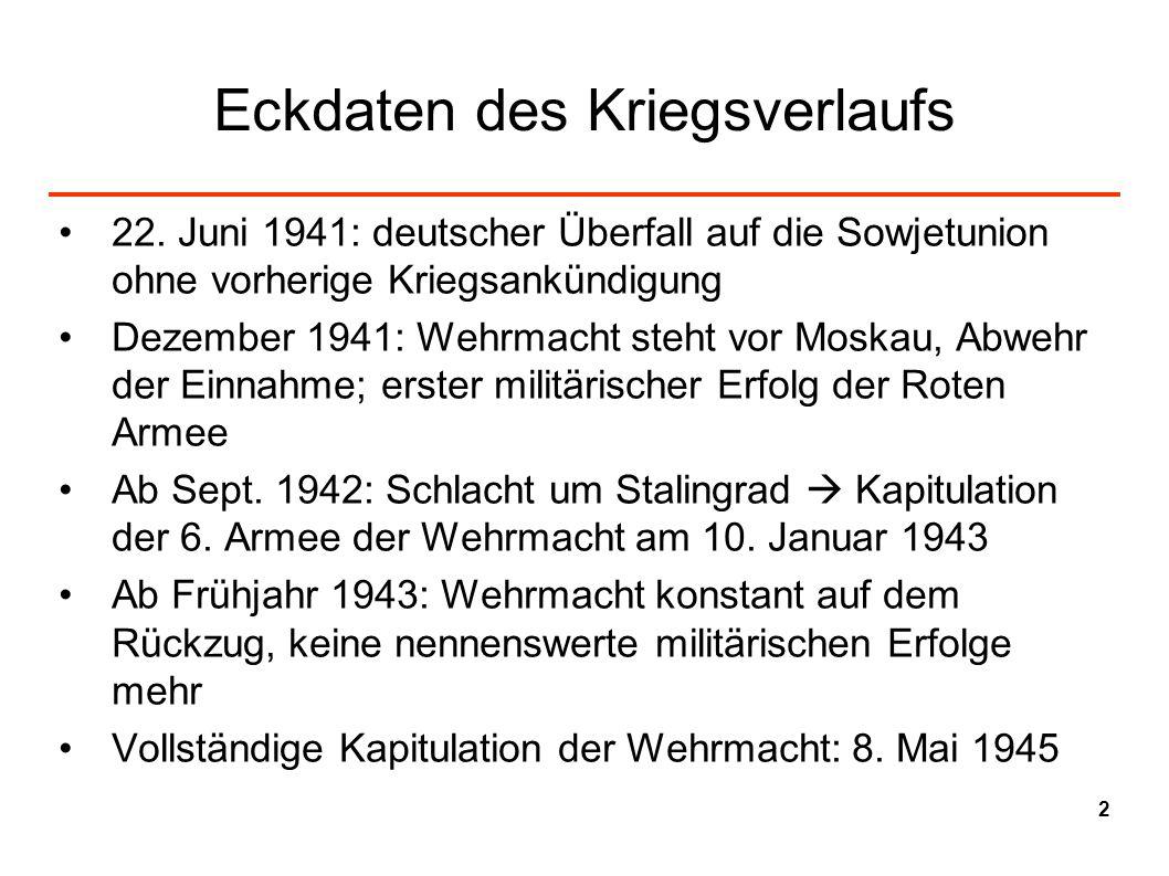 Eckdaten des Kriegsverlaufs 22. Juni 1941: deutscher Überfall auf die Sowjetunion ohne vorherige Kriegsankündigung Dezember 1941: Wehrmacht steht vor
