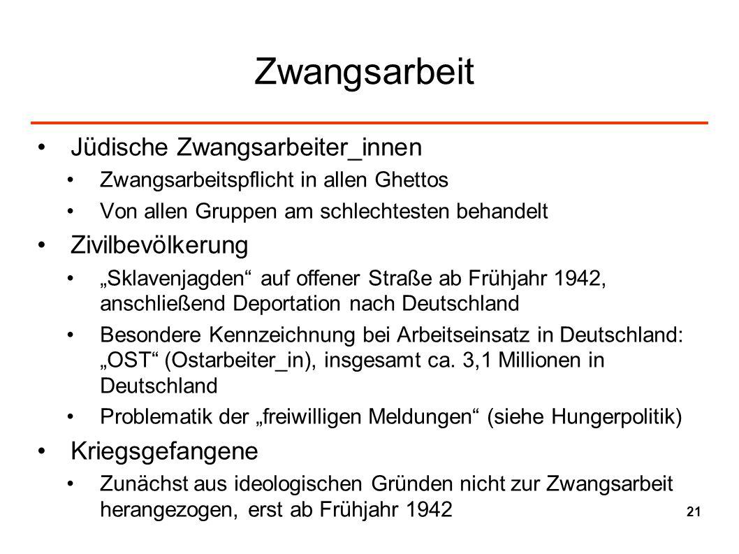 Zwangsarbeit Jüdische Zwangsarbeiter_innen Zwangsarbeitspflicht in allen Ghettos Von allen Gruppen am schlechtesten behandelt Zivilbevölkerung Sklaven