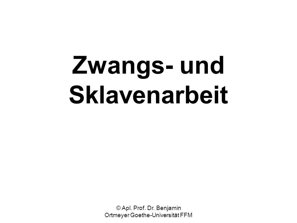 © Apl. Prof. Dr. Benjamin Ortmeyer Goethe-Universität FFM Zwangs- und Sklavenarbeit