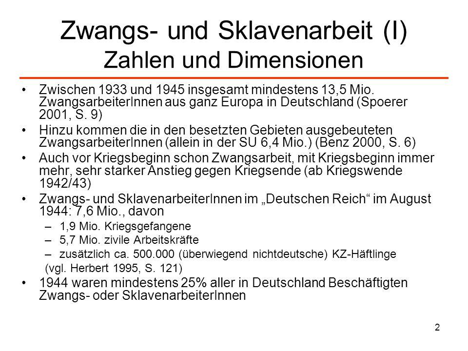 2 Zwangs- und Sklavenarbeit (I) Zahlen und Dimensionen Zwischen 1933 und 1945 insgesamt mindestens 13,5 Mio. ZwangsarbeiterInnen aus ganz Europa in De