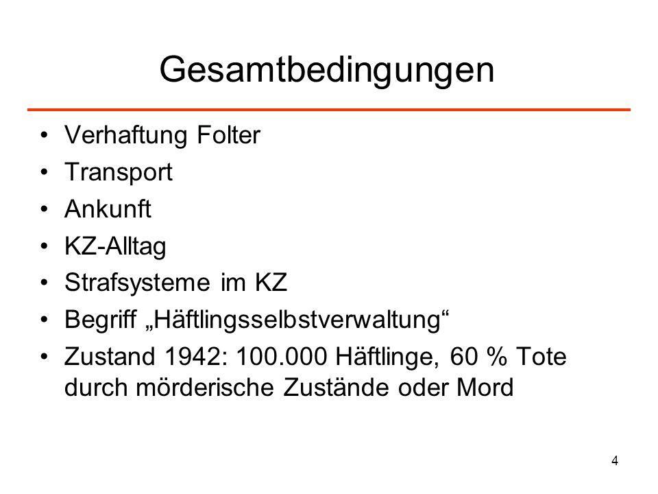 4 Gesamtbedingungen Verhaftung Folter Transport Ankunft KZ-Alltag Strafsysteme im KZ Begriff Häftlingsselbstverwaltung Zustand 1942: 100.000 Häftlinge