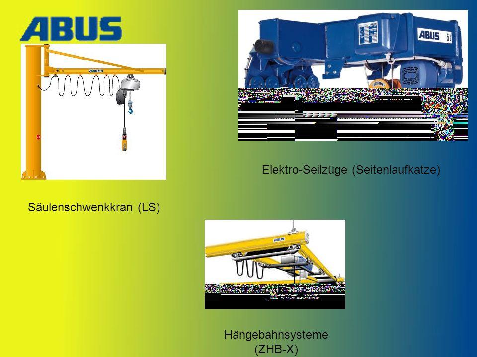 Säulenschwenkkran (LS) Elektro-Seilzüge (Seitenlaufkatze) Hängebahnsysteme (ZHB-X)