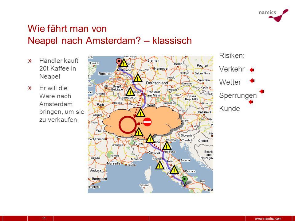 11 www.namics.com Wie fährt man von Neapel nach Amsterdam? – klassisch » Händler kauft 20t Kaffee in Neapel » Er will die Ware nach Amsterdam bringen,
