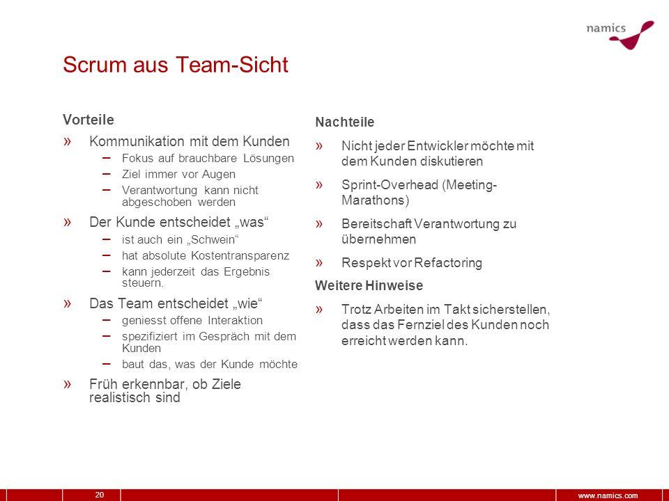20 www.namics.com Scrum aus Team-Sicht Vorteile » Kommunikation mit dem Kunden – Fokus auf brauchbare Lösungen – Ziel immer vor Augen – Verantwortung