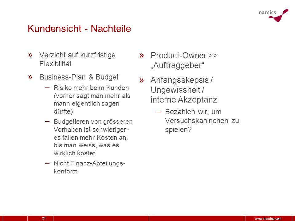 21 www.namics.com Kundensicht - Nachteile » Verzicht auf kurzfristige Flexibilität » Business-Plan & Budget – Risiko mehr beim Kunden (vorher sagt man