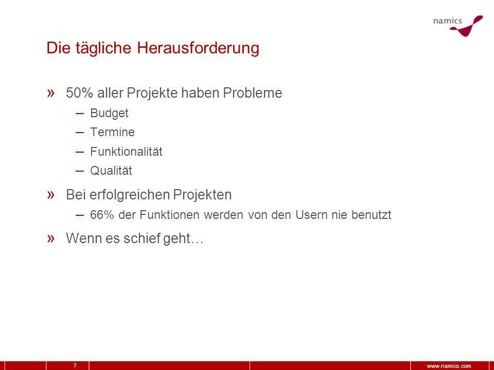 7 www.namics.com Die tägliche Herausforderung » 50% aller Projekte haben Probleme – Budget – Termine – Funktionalität – Qualität » Bei erfolgreichen P