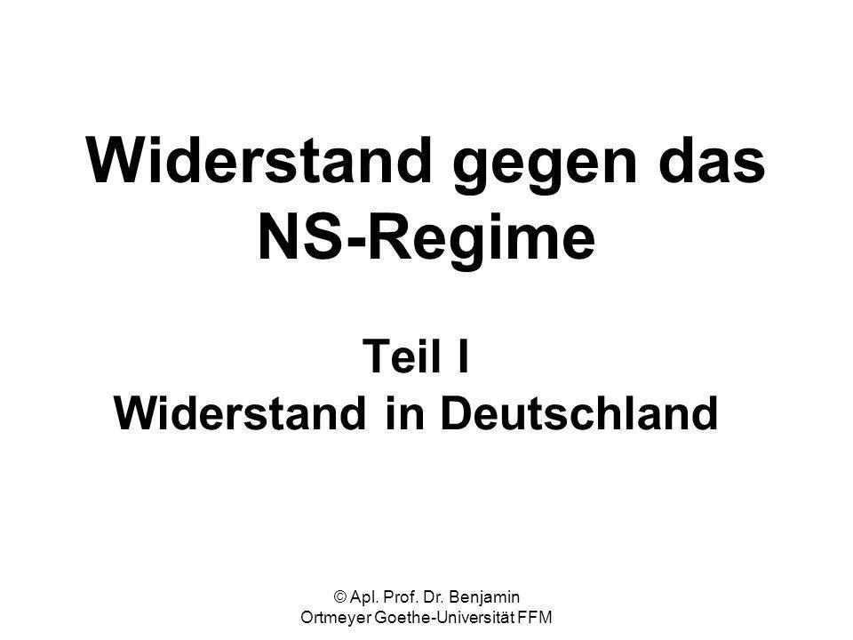 © Apl. Prof. Dr. Benjamin Ortmeyer Goethe-Universität FFM Widerstand gegen das NS-Regime Teil I Widerstand in Deutschland