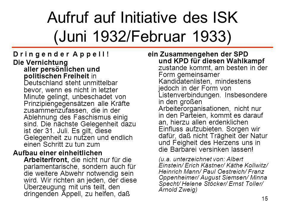 15 Aufruf auf Initiative des ISK (Juni 1932/Februar 1933) D r i n g e n d e r A p p e l l ! Die Vernichtung aller persönlichen und politischen Freihei