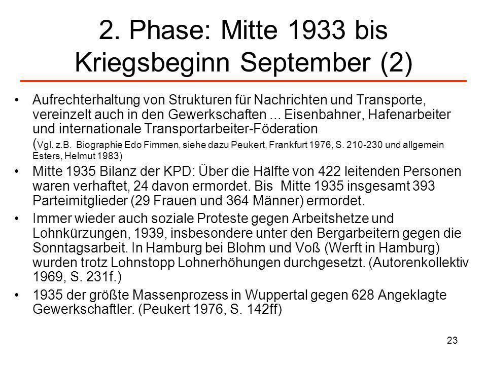 23 2. Phase: Mitte 1933 bis Kriegsbeginn September (2) Aufrechterhaltung von Strukturen für Nachrichten und Transporte, vereinzelt auch in den Gewerks