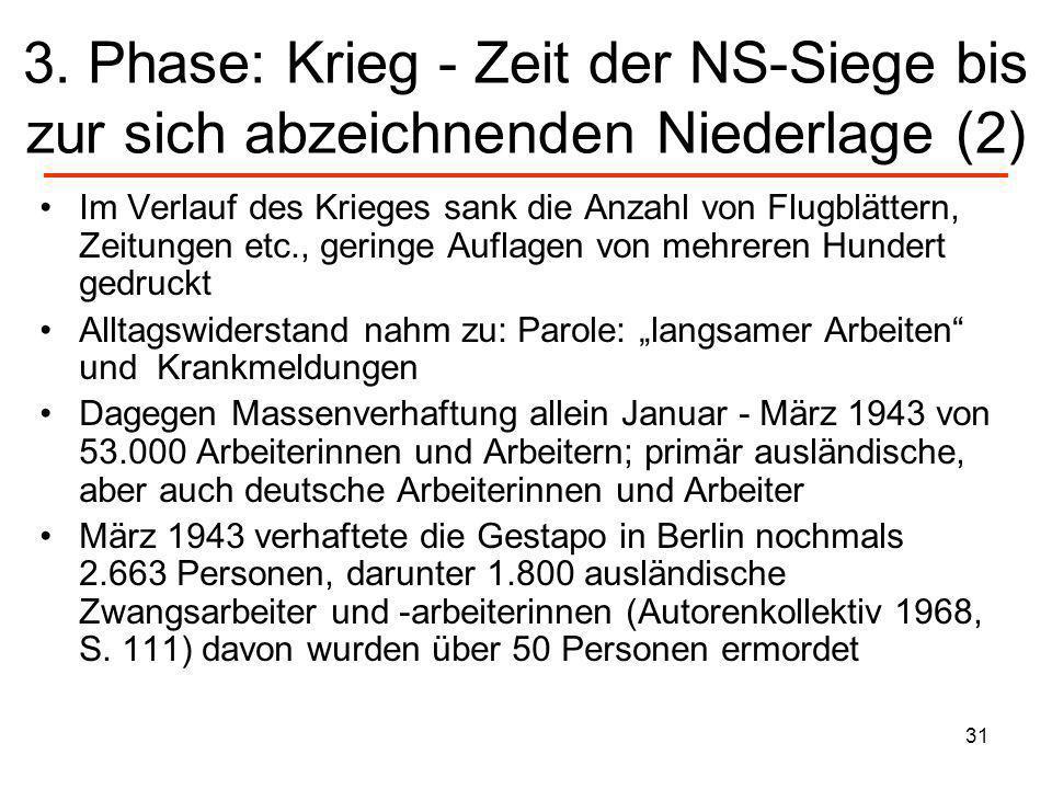 31 3. Phase: Krieg - Zeit der NS-Siege bis zur sich abzeichnenden Niederlage (2) Im Verlauf des Krieges sank die Anzahl von Flugblättern, Zeitungen et
