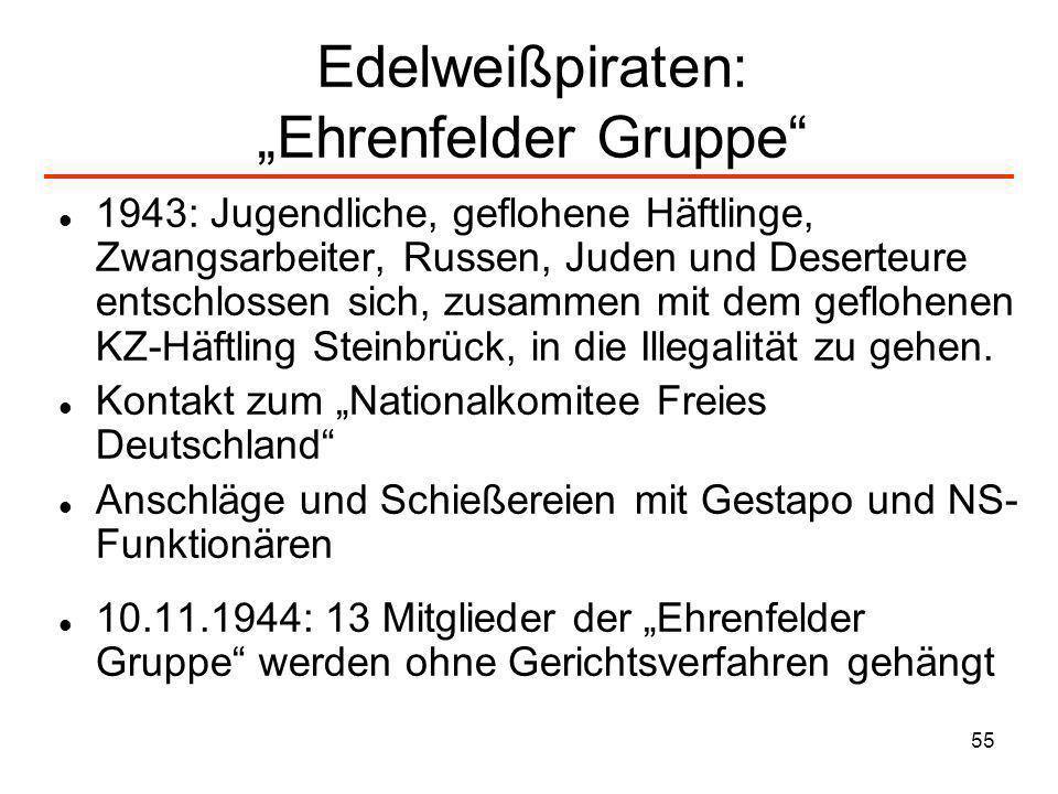 55 Edelweißpiraten: Ehrenfelder Gruppe 1943: Jugendliche, geflohene Häftlinge, Zwangsarbeiter, Russen, Juden und Deserteure entschlossen sich, zusamme